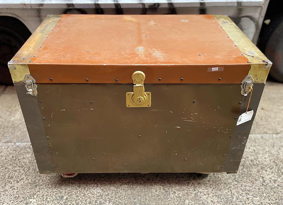 Antique Italian Settler's Flat Top Trunk