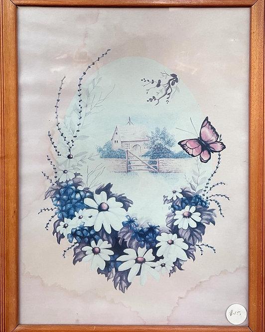 Vintage Framed Floral Artwork (Has Water Damage)