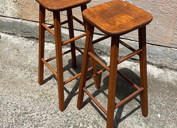 A Pair of Taiwanese Vintage Wooden Bar Stools imported by G. J. Coles & Coy Ltd.