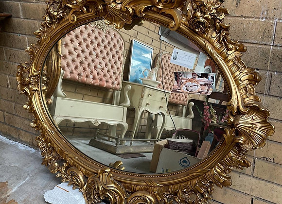 Large Antique Louis XV Style Ornate Gilded Mirror