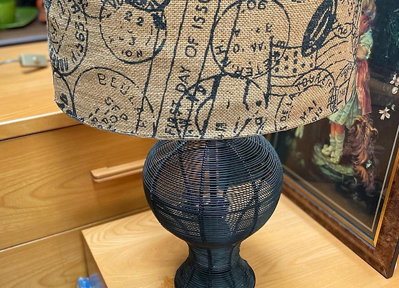 Unique Vintage Wire Mesh Base Table Lamp with Modern Shade