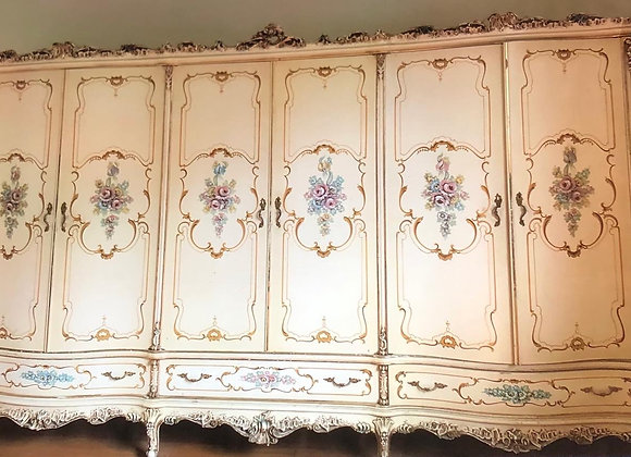 Italian Antique Baroque Style Hand-Carved Wardrobe