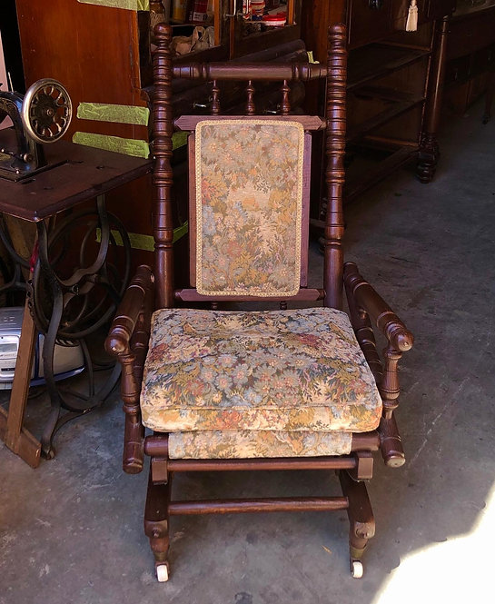 Gorgeous American Upholstered Vintage Dexter Rocking Chair