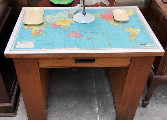 Vintage World Map Desk with Side Shelves