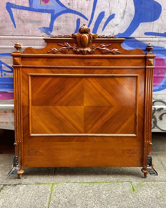 Exceptional French Antique Hand-Carved Queen Size Walnut Bed Base & Mattress