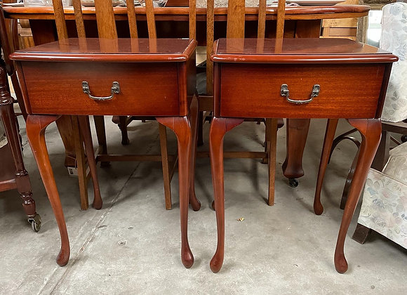 A Pair of Queen Anne Bedside Tables with Original Makers Mark