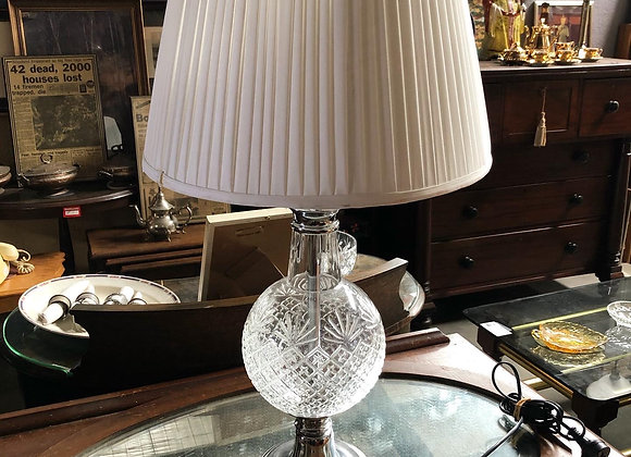 Vintage Chrome & Glass Table Lamp with White Shade