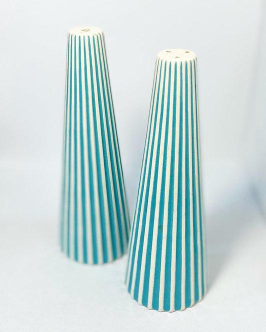 Unusual Set of Vintage Tapered Ceramic Salt & Pepper Shakers