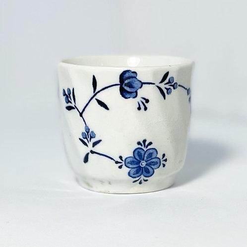 Vintage Oriental Hand-Painted Blue & White Glazed Ceramic Teacup/Sake Cup