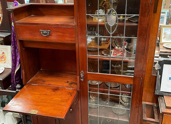 Antique Blackwood Leadlight Writing Desk/Bookcase Display Cabinet