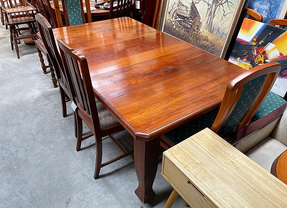 Beautiful C.1920s Blackwood 1 Leaf Dining Table with Tapered Legs