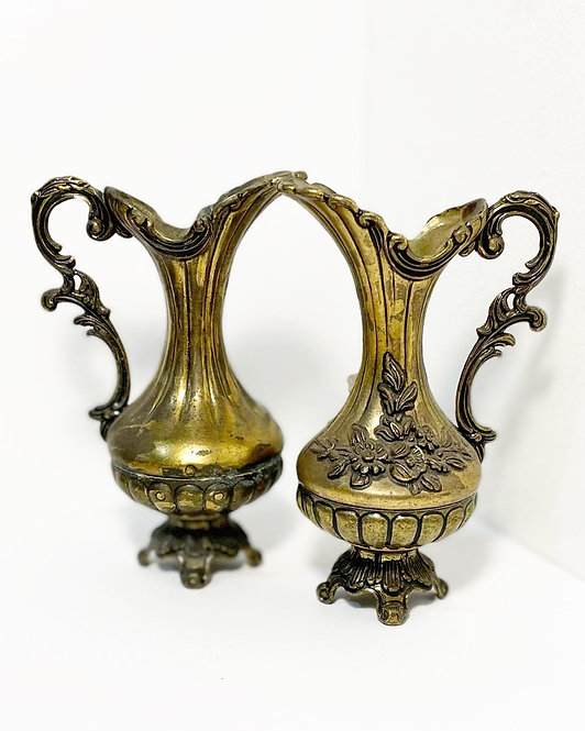 Set of 2 Ornate Brass Plate 'Peltrato' Decorative Pitchers from C.1940's (Italy)