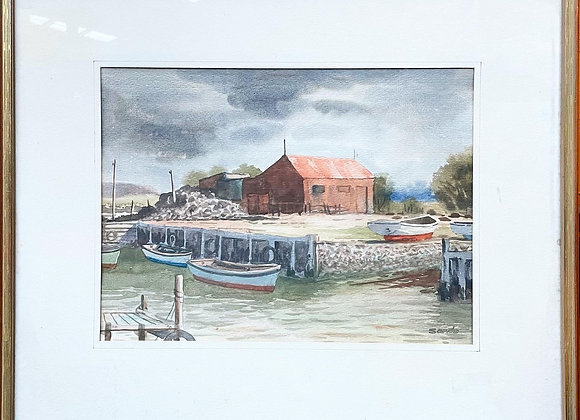 Original Watercolour of 'Boat Shed Williamstown' signed by Leslie Sands, 1978 (A