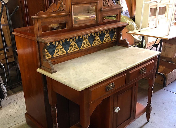 Antique Victorian White Marble Top Washstand