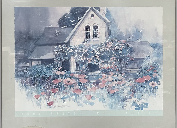 Framed Print of Dawna Barton's 'Rose Cottage' Watercolour Lithograph, 1986 (USA)