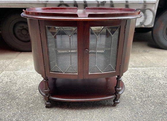 Impressive Oval Drinks Trolley with Double Sided Leadlight Doors on Castors