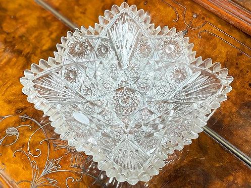 Superb Quality Diamond Cut Decorative Vintage Crystal Dish from C.1960s