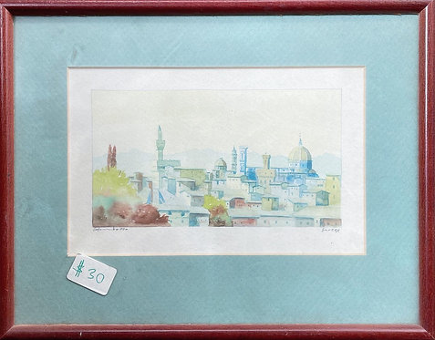 Pretty Small Framed Watercolour Painting from 1990s in Pristine Condition