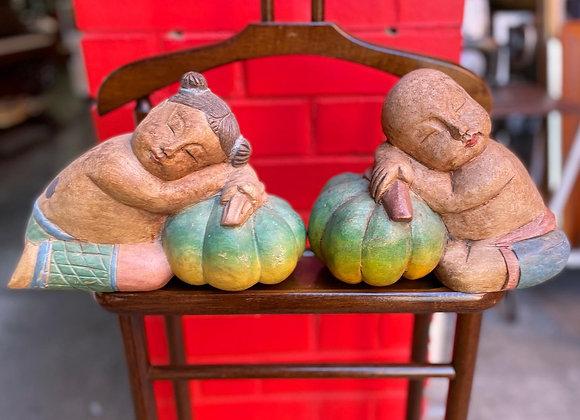 A Set of 2 Vintage Oriental Wooden Statues
