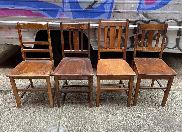 4 Various Wooden Vintage Chairs in Solid Condition