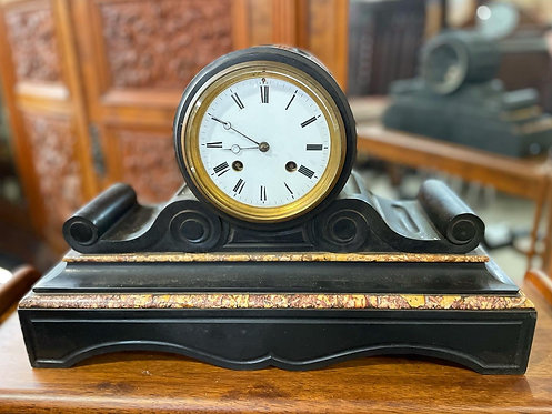 Antique Valogne á Paris Slate & Marble Boule Front Mantle Clock from C.1880s