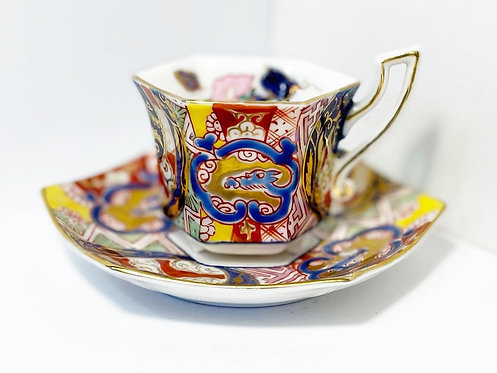 Very Fine Contemporary 'Kutani' Demitasse Set of 2 Hand-Painted Cups & Saucers