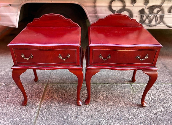 Two Elegant 1 Drawer Queen Anne Style Bedside Tables
