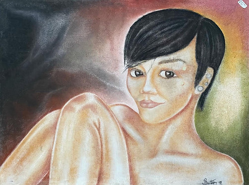 Naked Woman Oil on Canvas Original Artwork signed by Butter (2010)