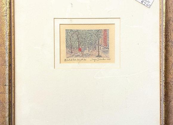 Original Artwork of Central Park along 5th Ave signed by Georgia, 1995 (USA)