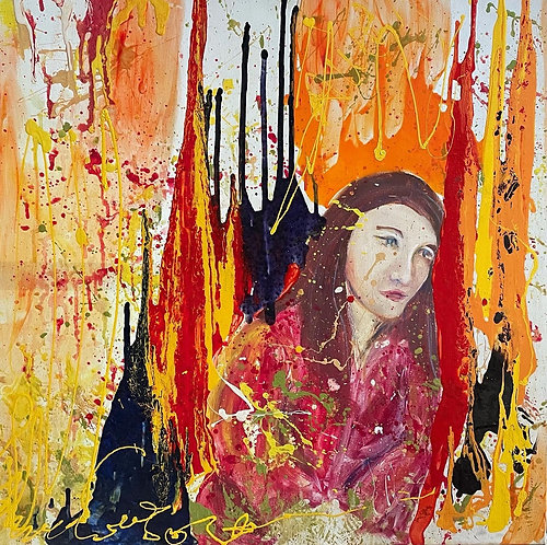 Colourful Oil on Canvas Artwork signed by Unknown Artist
