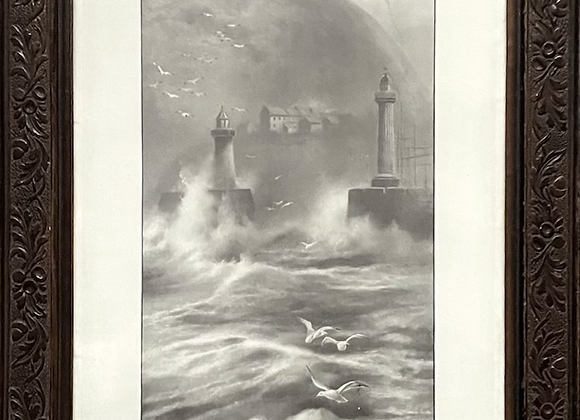 Framed Vertical Print 'Whitby from the Sea' by Elmer Keene