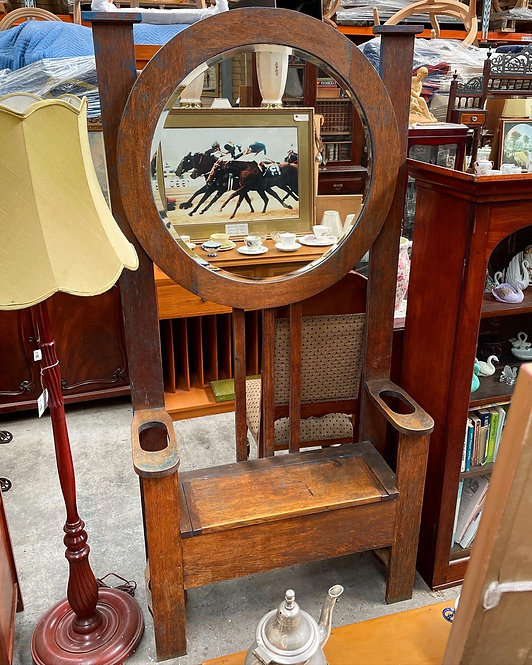 Antique C.1920s Hall Stand with Bevelled Edge Mirror & Umbrella Compartment