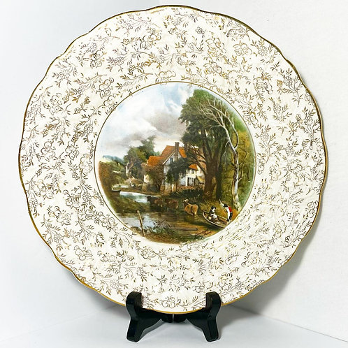 """Ornate Collectible James Kent Ltd. Decorative Plate """"Valley Farm"""" by Constable ("""