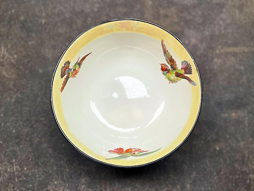 High Quality Vintage 'Burleigh Ware' Bowl with Hand-Painted Birds (England)