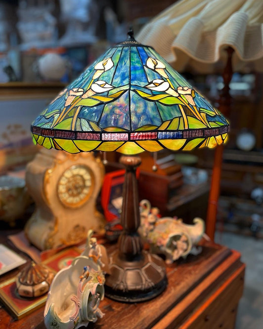Original Vintage Mosaic Tiffany Lamp with Stained Glass Shade