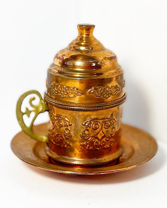 Authentic Vintage Handmade Copper Turkish Coffee Cup with Relief Ornaments