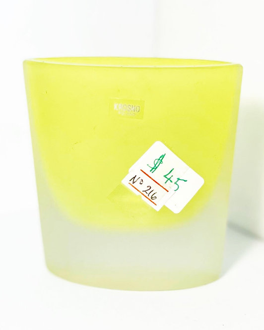 Vintage Original Yellow Frosted Glass Decorative Vase by Krosno (Poland)