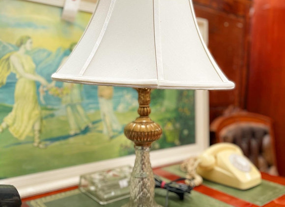 Luxurious Vintage Blown Glass Base Table Lamp with White Shade