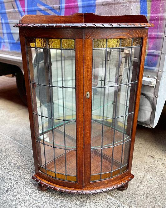 Rare Antique Tudor Style Corner Display Cabinet with Original Leadlight Door