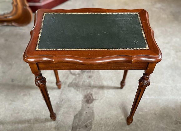 Small Antique Ornate Embossed Leather Top Coffee Table