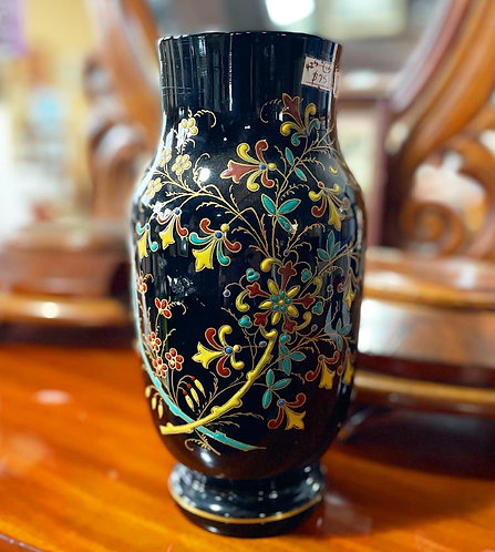 Elegant Vintage Hand-Painted Glazed Ceramic Vase with Floral Motifs