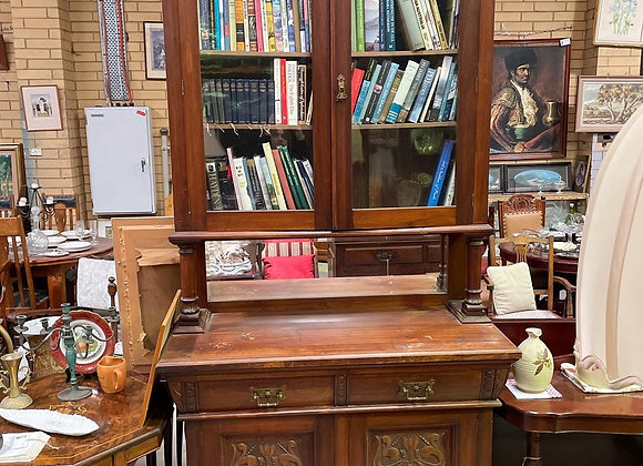 Stunning Art Nouveau Bookcase with Original Bevelled Mirror Back