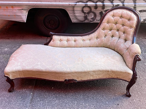 Antique Early Victorian Chaise Floral Fabric Pattern Chaise Lounge on Cabriole L
