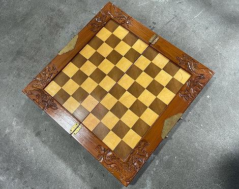 Impressive Vintage Hand-Carved Chess Board