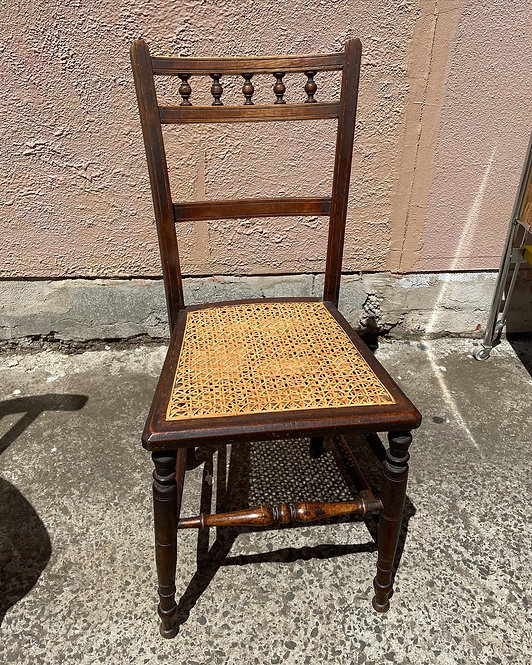 Antique Victorian Cane Seat Dining Side Accent Chair