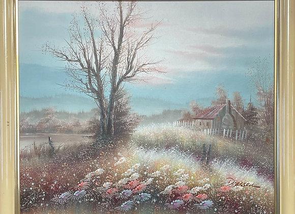 Impressive Vintage Framed Landscape Oil Painting signed by Dressen