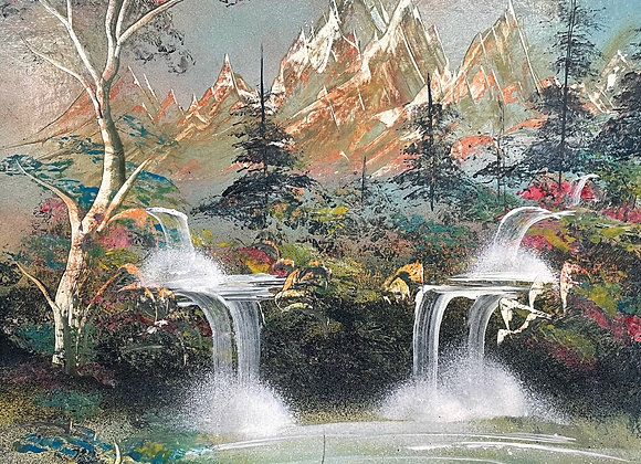 Vintage Artwork of Mountainous Landscape on Timber