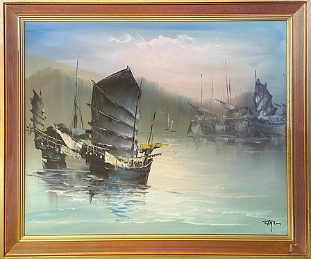 Impressive Artwork of Chinese Junk Ships from C.1970's with Original Signature
