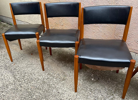 A Set of 3 Good Quality Scandinavian Style Retro Dining Chairs