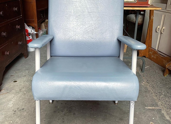 Small Vintage Blue Upholstery Hospital Chair